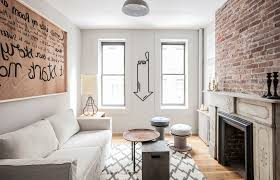 new york brick wall decor living room eclectic with black and