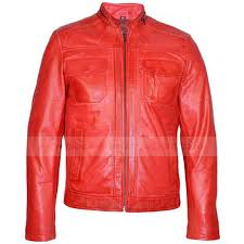 mens biker style leather jacket fashion red motorcycle jacket