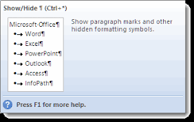 Words Nonprinting Formatting Marks