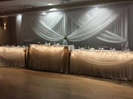 Backdrop Burlap Flowers Wedding Club Roma Fabric Fall Head Table Draping Icicle Lights Rustic