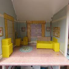 Vintage 50s Marx Metal 2 Story Dollhouse Furniture Swimming Pool