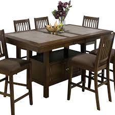 Butterfly Dining Room Table Brown Tile Top Counter Height Table With