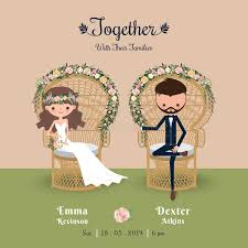 Download Rustic Bohemian Cartoon Couple Wedding Invitation Card Stock Vector