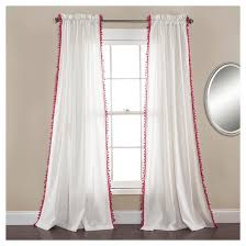 Plum And Bow Pom Pom Curtains by Pink Ruffle Curtains Target