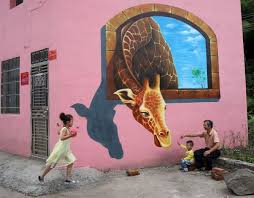 Tourists Play In Front Of A 3D Painting On The Wall House Luoyuan Village Jinhua Zhejiang Province Hired Team To Put