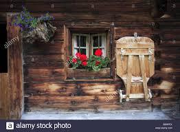Austria Tyrol House Old Rustic Detail Door Windows Flower Boxes Bank Spring Karwendel Region Wood Residence Farmhouse