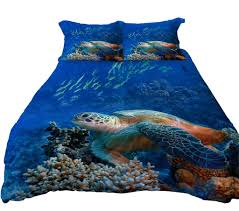 Anoleu Sea Turtle and Dolphins Reversible Duvet Cover Set 3 PC