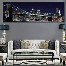 manhattan new york poster bridge skyline nacht