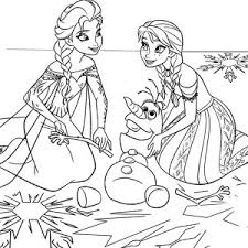 Anna Princess And Queen Elsa Fix Olaf The Snowman Coloring Pages