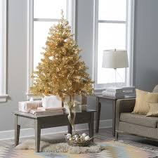 Pre Lit White Flocked Christmas Tree by 4 5 Ft Classic Silver Clear Pre Lit Full Tabletop Christmas Tree