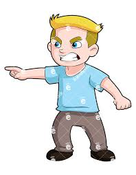 Angry Young Boy Pointing Finger And Scowling Vector Clipart