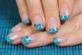 Picture 5 of 11 Blue French Tip Nail Art Design Tutorial