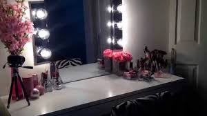 Vanity Table Ikea Uk by Diy Hollywood Vanity Mirror U0026 Ikea Micke Desk Youtube