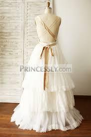 boho beach ivory lace tulle plunging neck backless wedding dress