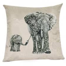 Decorative Couch Pillows Amazon by Amazon Com Wonder4 Mother Elephant Pillow Case Linen Cotton Sofa