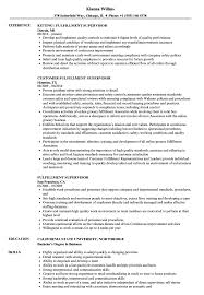 Download Fulfillment Supervisor Resume Sample As Image File