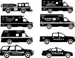 Silhouette Illustration Of Fire Truck, Police And Ambulance Cars ...
