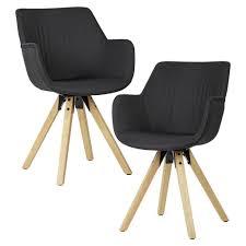 mid you armlehnstuhl set webstoff schwarz esszimmerstuhl holz kautschukholz massiv 54x85x58 cm wasserlack webstoff echtholz 000850014901
