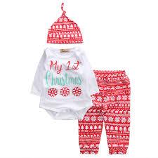 Cute Newborn Baby Girls Boys Infant Christmas Print Tops Romper Snow Pants Legging Hat