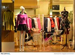 Store Display Window Light And Decorative Bike Fashion Boutique With Mannequins