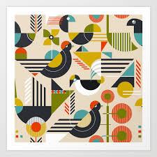 100 Bauhaus Style Style Birds Art Print