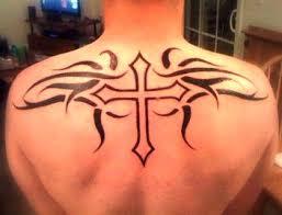 Back Tribal Cross Classic Tattoo Designs
