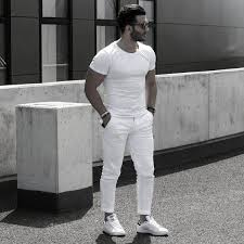 Mens Summer Casual T Shirt And Pants All White Outfits