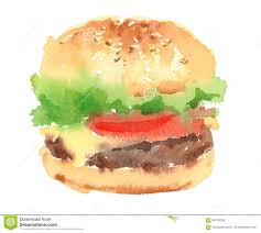 Cheeseburger Watercolor Food Illustration Hand Painted Isolated White Background Illustration Megapixl