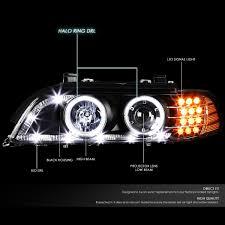 03 bmw e39 5 series led drl signal projector headlights black