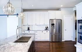Modern White Kitchen with Espresso Island Contemporary Kitchen
