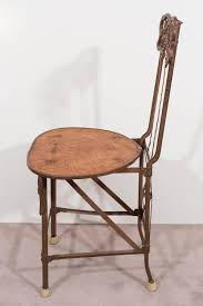 100 Folding Chair Art Set Of Four Nouveau Cast Iron S With Wood Seats For