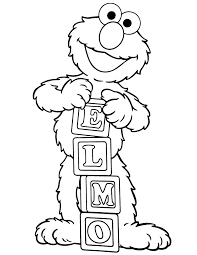 Alphabet Blocks Elmo Coloring Page