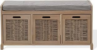 mobili sitzbank mit 3 schubladen aufbewahrungsbank mit gepolsterter sitzfläche paulownienholz beige country stil wohnzimmer flur maße