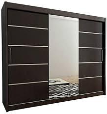 kryspol schwebetürenschrank verona 2 250cm mit spiegel kleiderschrank mit kleiderstange und einlegeboden schlafzimmer wohnzimmerschrank schiebetüren