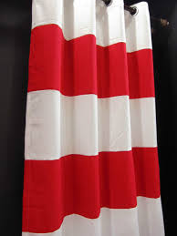 Tommy Hilfiger Curtains Cabana Stripe by Wide X Drop White Red Thick Stripe Cotton Canvas Curtain Blue And