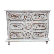 Rustic Style Distressed White Chest Of Drawers