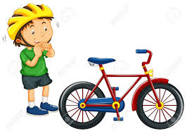 Boy Wearing Helmet Before Riding Bike Illustration Royalty Free