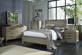 Furniture Harbourside 4 Piece Panel Bedroom Set in Weathered Acacia
