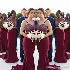 African Burgundy Long Bridesmaid Dresses Lace Appliques Beaded Waist Mermaid Maid Of Honor Gowns Wedding Guest Formal Party Dress Cheap