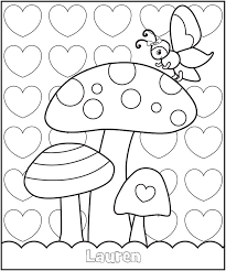 VALENTINES BUTTERFLY GARDEN COLORING PAGE