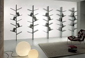 feeling great with unique freestanding bookshelves in the interior