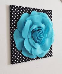 Wall Art Ideas Design Hangings Decorated 3d Flower Light Blue Turqoise On Black And White Polka Dot Living Room Perfect Things Interior Stuff