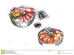 Hokkaido seafood japanese food watercolor illustration