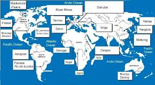 River Blank World Map Outline With Rivers