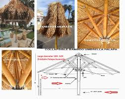 9 Ft Patio Umbrella Frame by 9 U0027ft Asian Thatch Umbrella Solid Bamboo Frame Palapa Set 14 U0027ft