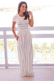 stylish grey striped ivory short sleeve maxi dress online