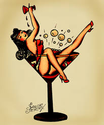 Pin Up Girl Cocktail Glass Tattoos