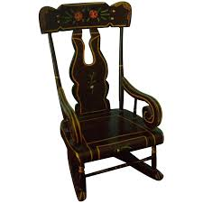Hand Painted Vintage Miniature Rocking Chair