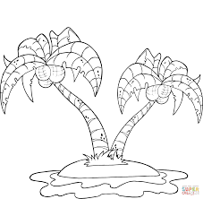 Click The Coconut Palm Trees On Island Coloring