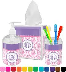 pink white purple damask bathroom accessories set personalized